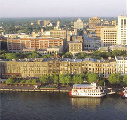 The Savannah, GA waterfront with cityscape
