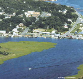 An aerial photo of a waterway at Southport, NC