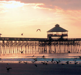 The Folly Beach Pier (built in 1995) in Folly Beach, South Carolina